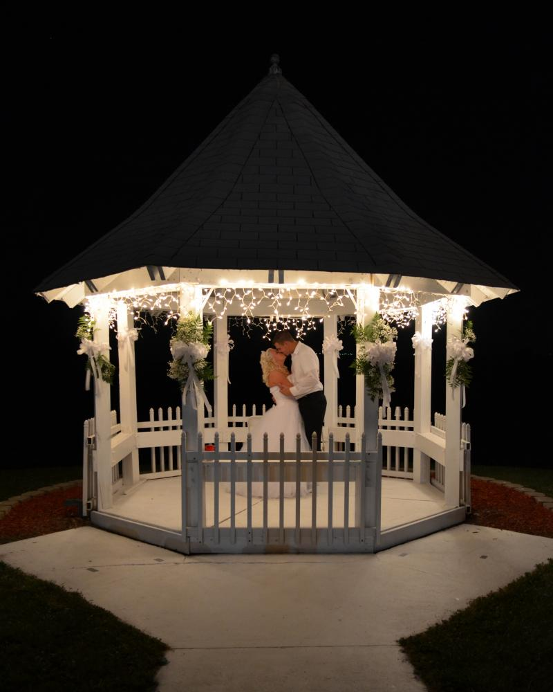 Capturing a moment in the gazebo after dark!