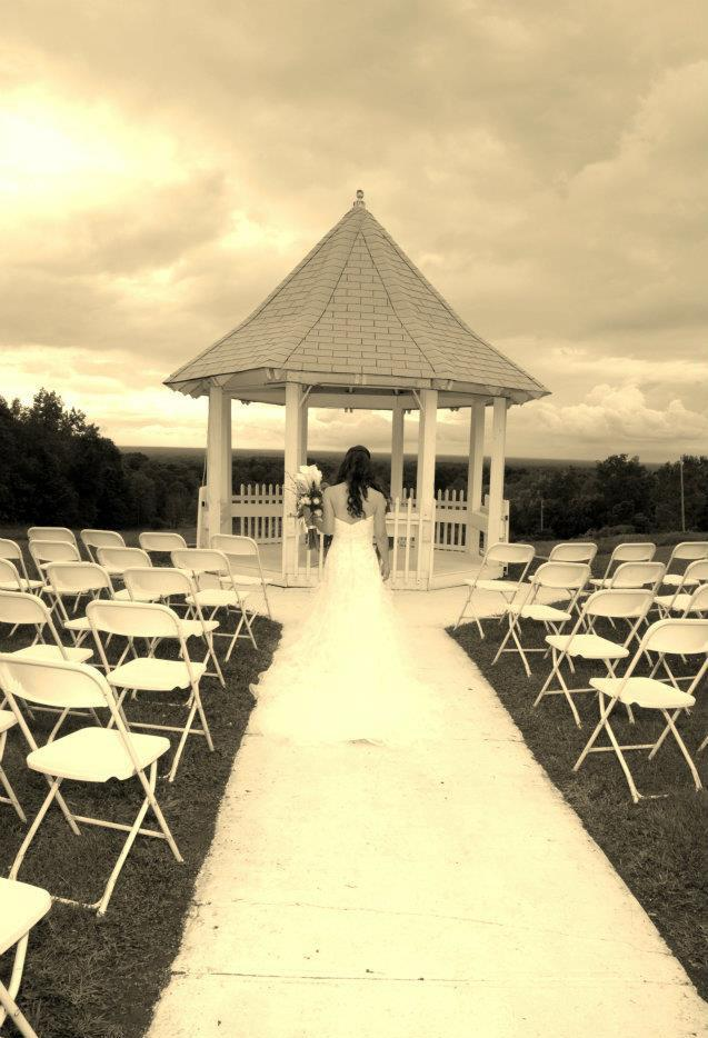 A brides moment at the gazebo.
